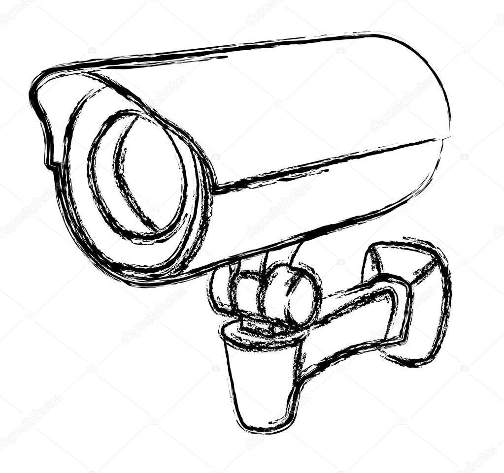 Stock Illustration Black And White Surveillance Camera on cctv camera drawing