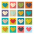 Heart, flat design, square set buttons — Stock Vector #59200155