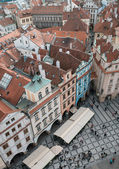 Houses with red roofs in Prague Old Town Square in the Czech Rep — Stock Photo