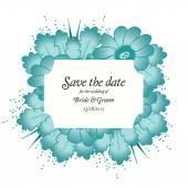 Wedding invitation cards with flowers — Stok Vektör
