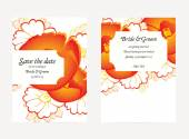 Wedding invitation cards with floral elements — Vettoriale Stock