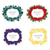 Set of flower wedding invitation card — Stock Vector
