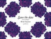 Wedding invitation card with purple flowers — Stock Vector