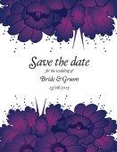 Bruiloft uitnodigingskaart met paarse bloemen — Stockvector