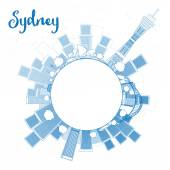 高層ビルやコピー スペース概要シドニー都市スカイライン — ストックベクタ