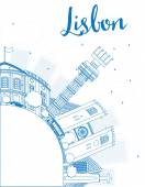 Outline Lisbon city skyline with blue buildings and copy space. — Stock Vector