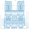 Outline Notre Dame Cathedral - Paris — Stock Vector #75031971