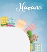 Havana Skyline with Color Building, Blue Sky and copy space — Stock Vector