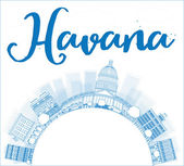 Havana Skyline with Blue Building and copy space — Stock Vector