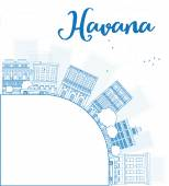 Outline Havana Skyline with blue Building and copy space — Stock Vector