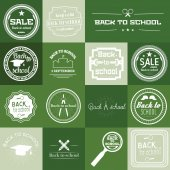 Набор обратно в школу ярлык на зеленом фоне — Cтоковый вектор