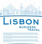 Outline Lisbon city skyline with blue buildings and copy space — Stock Vector