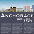 Anchorage (Alaska) Skyline with Grey Buildings, Blue Sky and cop — ストックベクタ #81430470