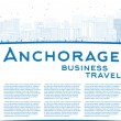 Outline Anchorage (Alaska) Skyline with Blue Buildings and copy — ストックベクタ #81430478