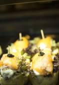 Spanish cuisine smoked salmon tapas dish in restaurant — Stock Photo