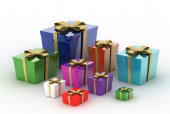 Gift boxes and christmas balls — Stock Photo