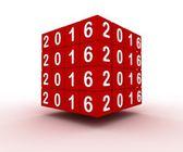 Roter Würfel mit Neujahr Zeichen 2016 — Stockfoto