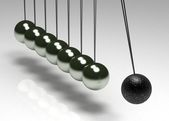 Black ball among grey ones on ropes — Stock Photo