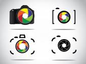 Concept Illustration of trendy minimalistic 3d digital SLR and simple Camera icons set with shutter icon or symbols — Stock Photo