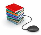 Stack of books with computer mouse — Stock Photo