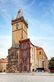 Clock tower - City hall  in Prague — Stock Photo
