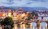 Prague cityscape at night — Stock Photo