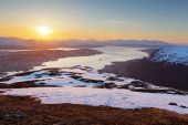 Sunset in moutain with fjord - Tromso — Stock Photo