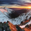Majestic sunset in winter mountains — Stock Photo #55921807