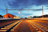 Train station in motion blur at night, railroad — Stock Photo