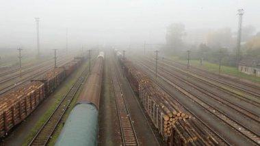 Freight train station - Cargo transportation — Stock Video