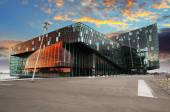 REYKJAVIK, ICELAND - JUNY 9: Twilight scene of Harpa Concert Hal — Stock Photo