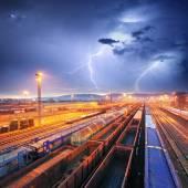 Train Freight transportation at storm - Cargo transit — Stock Photo