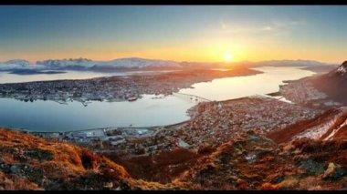 Tromso at sunset — Stock Video
