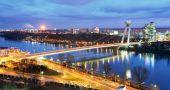 ブラチスラヴァ橋とドナウ川 — ストック写真