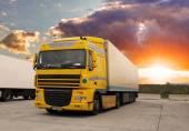 Truck - cargo transportation with sun — Stock Photo