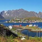 Norway village with mountain - Lofoten, Reine — Stock Photo #64904345