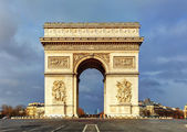 Arch of Triumph (Arc de Triomphe) with dramatic sky, Paris, Fran — Stock Photo