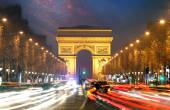 Champs elysees and Arc de Triumph, Paris — Stock Photo