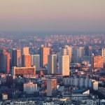 Paris city panorama - aerial view at sunset — Stock Photo #66985101