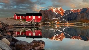 Motion - Norway village Reine with mountain. — Stock Video