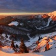 Winter mountains landscape at sunrise, panorama — Stock Photo #67468745