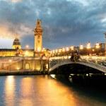 Paris bridge Alexandre 3, III and Seine river — Stock Photo #71305915