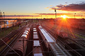 Freight Station with trains - Cargo transportation — Stock Photo