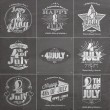 A set of nine vintage greeting cards on chalkboard with the wording : Happy 4th of July 1776-2014, Independence Day — Stock Photo #56185509