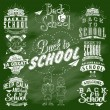 Welcome Back To School Typographical Background On Chalkboard With School Icon Elements — Stock Photo #56185553