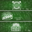Welcome Back To School Typographical Background On Chalkboard With School Icon Elements — Stock Photo #56185571