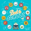 Back To School Typographical Background With Flat Icon Set, Vintage Ornaments, All for the beginning of the school, Concept of the high school object with teaching and learning symbol. vector set — Stock Photo #56185589