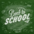 Welcome Back To School Typographical Background On Chalkboard With School Icon Elements — Stock Photo #56185683