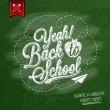 Yeah! Back To School Typographical Background On Chalkboard With School Icon Elements — Stock Photo #56186479