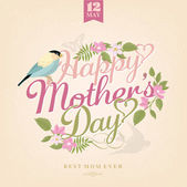 Happy Mothers Day, Greeting Card With Spring Flowers And Bird — Stock Photo